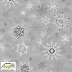 Stof Christmas Wonders Schneeflocken grau