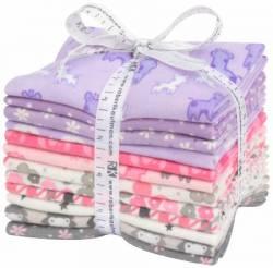 Robert Kaufman Fat Quarter Bundle Pink/Purple FLANELL, 12 Fat Quarter