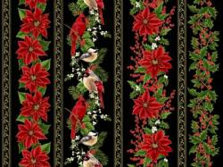 Hoffman Black Poinsettia & Bird Border Stripe metallic