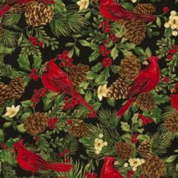 Timeless Treasures Joyful Season Black Cardinal metallic