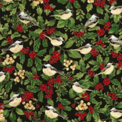 Timeless Treasures Joyful Season Black Birds & Berries metallic