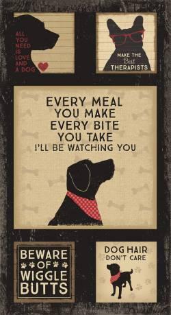 Clothworks Black Wigglebutts Dog Panel Hunde Panel ca. 62 cm Rapport