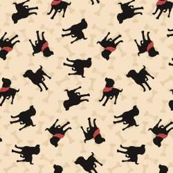 Clothworks Wigglebutts Light Khaki Dogs & Bones