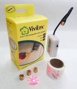 Vivilux Laser, wiederaufladbar, rotes Licht, Befestigung mit Magnetklebestreifen