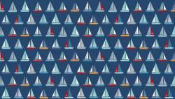 Makower Sail Away Segelboote auf blau