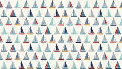 REDUZIERT: Makower Sail Away Segelboote auf natur >> Reststück 0,6 m <<<