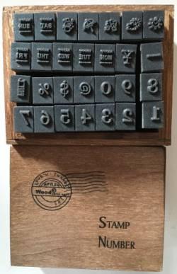 Stempel-Set mit Zahlen, Wochentagen (englisch), Wetter, Symbole