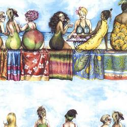 Elizabeths Studio Fruit Ladies Border Stripe