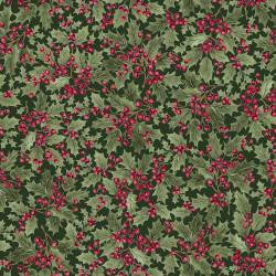 Timeless Treasures Holly & Berries Stechpalmenblätter und -beeren grün rot