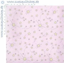 P&B Flannel Sterne gelb auf rosa *FLANELL*