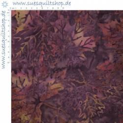 Hoffman Batik Zinfandel Blätter aubergine violett pink grünlich