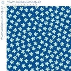 Benartex Front Porch Blue Mini Floral Blumen blau hellblau