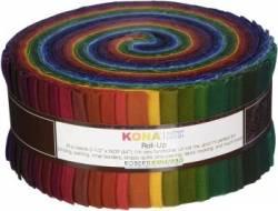 Kona Cotton Roll Up 2-1/2in Strips Roll Up Kona Solids Dark Palette