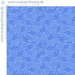 Quilting Treasures Cotton Leaf Blue Aster Blätter blau
