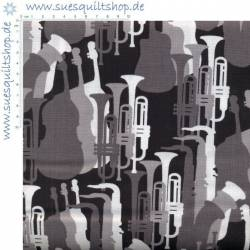 REDUZIERT: Benartex Thats Jass Instrumente schwarz-grau-weiss >>> Mindestbestellmenge 1 Meter <<<