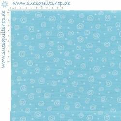 Benartex Sky Blue Happy Swirls Schnörkel aqua weiss