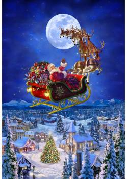 Hoffman Christmas To All a Good Night Santa Sleigh Panel 30in x 43in ca. 76,2 x 109,2 cm Rapport