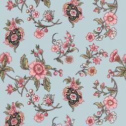 Jane Austen At Home Cassandra Blumen rosa salbei auf blau
