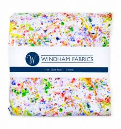 Windham White/Multi Paint Splatter Rückseitenstoff überbreit, Farbspritzer multicolor - ca. 2,74 x 2,74 m
