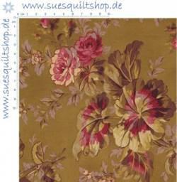 REDUZIERT: RJR Esprit Maison Large Floral Gold große Blumen auf gold >>> Mindestbestellmenge 1 Meter <<<