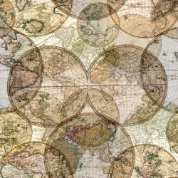 Windham World Globes Digitally Printed Rückseitenstoff überbreit, Weltkugeln - ca. 2,74 x 2,74 m