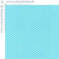 Robert Kaufman Spot On Aqua Tiny Dots, Punkte weiss auf aqua