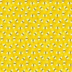 Fabric Traditions Bumble Bee Bienen auf gelb