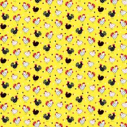 Fabric Traditions Yellow Chickens Hühner auf gelb
