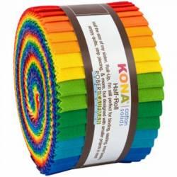 Kona Cotton *HALF* Roll Up 2-1/2in Strips Bright Rainbow Palette