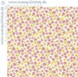 Benartex Butterfly Garden Spring Meadow Rose Blümchen rosa gelb