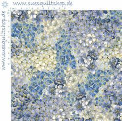 Benartex Symphony Blossoms Medium Blue