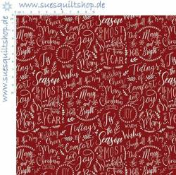 Riley Blake Christmas Traditions Red Words Schrift auf rot