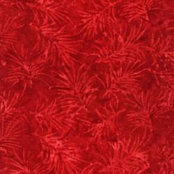 Timeless Treasures Batik Red Spikey Leaves Water Marks rot
