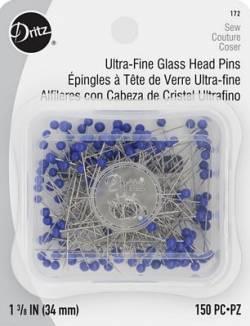 Stecknadeln sehr fein, ca. 0.40x34 mm, Glaskopf blau