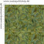 Timeless Treasures Batik Moss Mini Leaves Blätter moosgrün