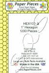 Papierschablonen Hexagons  1 inch ca. 1200 stk Großpackung