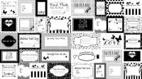 Studio E Small Talk Black Sewing Labels, Quilt-Etiketten schwarz-weiss, Rapport ca. 0,58 m