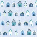 Stof Seaside Strandhäuser blau rot auf zart bau