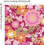 Benartex Front Porch Pink Summer Floral Blumen pink rosa orange auf beere