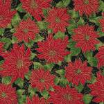 Timeless Treasures Merry & Bright Black Poinsettia metallic