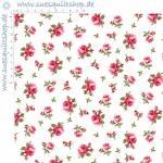 Stof Arabella Rosen rosa auf weiss