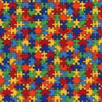 Timeless Treasures Multicolor Puzzle Pieces Puzzleteile multicolor