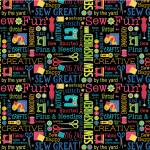 Benartex Sew Excited Black Sew Wordy