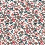 Jane Austen At Home Anne mittelgroße Blumen rosa petrol auf creme