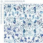 Clothworks By The Seashore Blue Seahorses